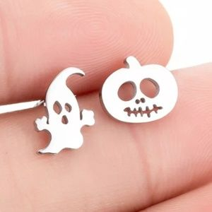 Pumpkin Ghost Halloween Stud Earrings